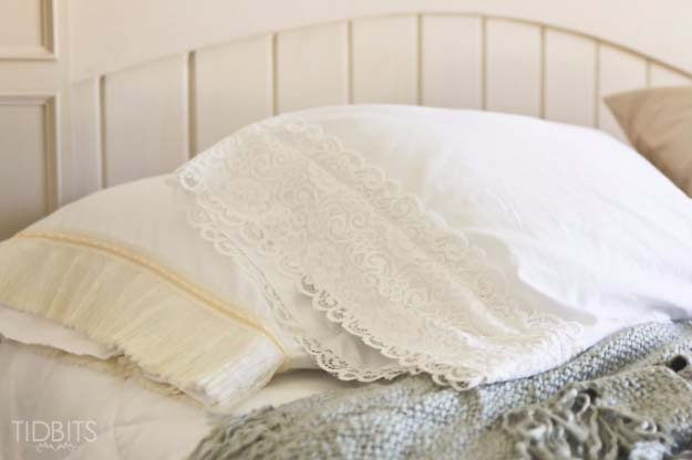 DIY Crafts You Can Make with Lace | Cool DIY Ideas for Fashion, Decor, Gifts, Jewelry and Home Accessories Made With Lace | Lace Pillow Case  | http://diyjoy.com/diy-crafts-ideas-with-lace