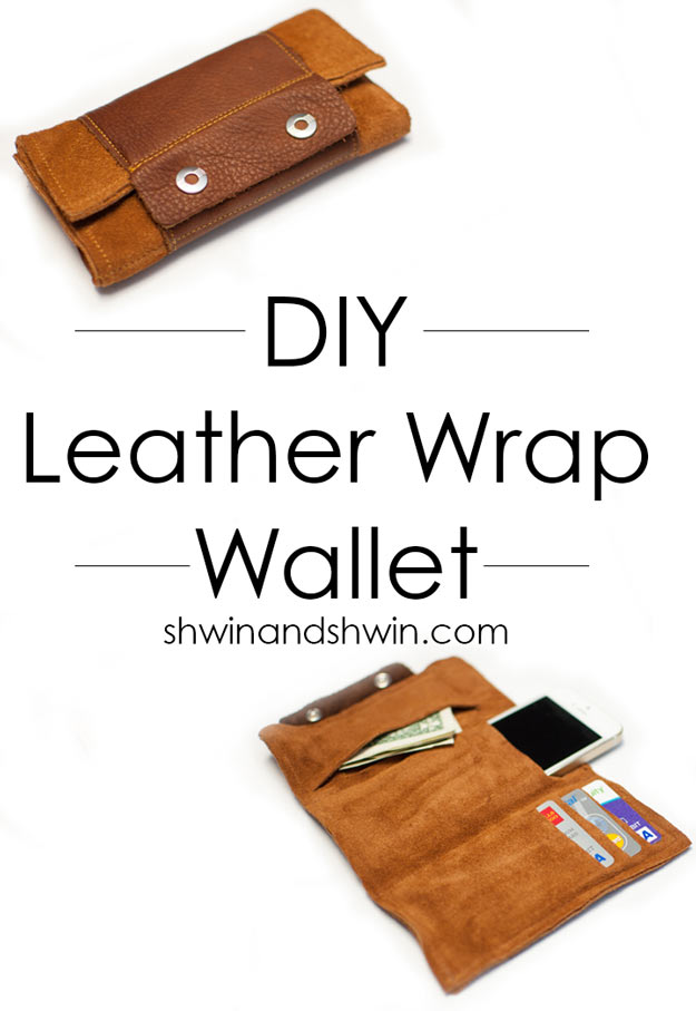 Awesome Crafts for Men and Manly DIY Project Ideas Guys Love - Fun Gifts, Manly Decor, Games and Gear. Tutorials for Creative Projects to Make This Weekend | Leather Wrap Wallet #diy #craftsformen #guys #giftsformen