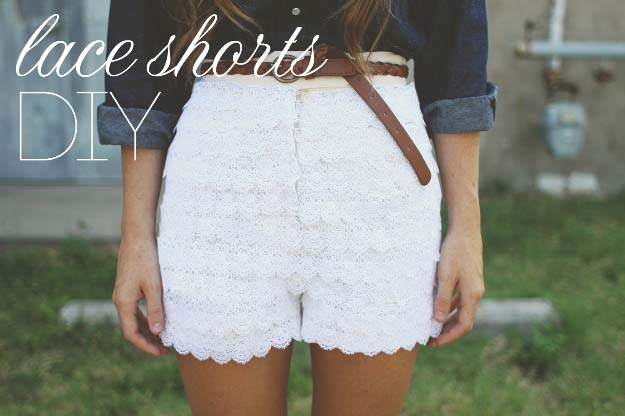 DIY Crafts You Can Make with Lace | Cool DIY Ideas for Fashion, Decor, Gifts, Jewelry and Home Accessories Made With Lace | Lovely Layered Lace Shorts | http://diyjoy.com/diy-crafts-ideas-with-lace