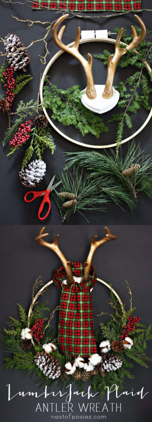 DIY Holiday Wreaths Make Awesome Homemade Christmas Decorations for Your Front Door | Cool Crafts and DIY Projects by DIY JOY | Lumberjack Plaid Antler Wreath #diy