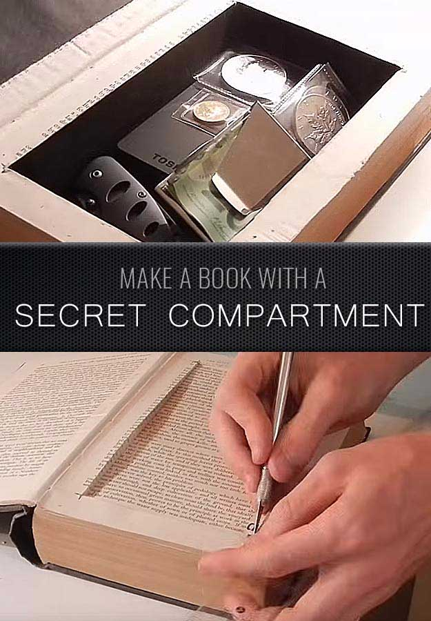 Cool Crafts for Men and Manly DIY Project Ideas Guys Love - Fun Gifts, Manly Decor, Games and Gear. Tutorials for Creative Projects to Make This Weekend | Make a Book with a Secret Compartment #diy #craftsformen #guys #giftsformen