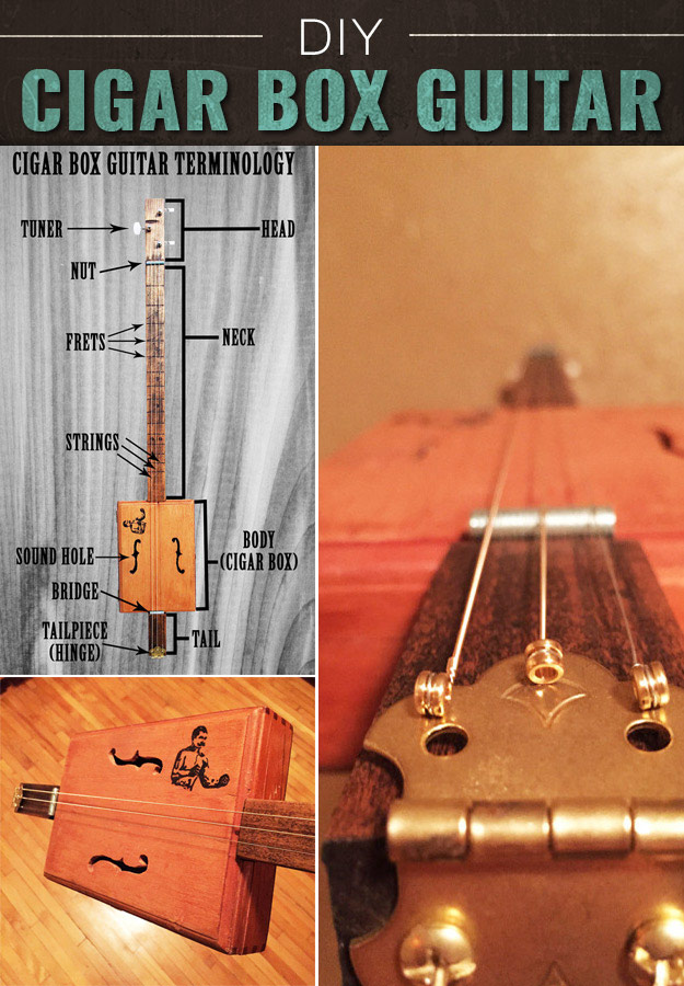 Awesome Crafts for Men and Manly DIY Project Ideas Guys Love - Fun Gifts, Manly Decor, Games and Gear. Tutorials for Creative Projects to Make This Weekend | Make a Cigar Box Guitar #diy #craftsformen #guys #giftsformen
