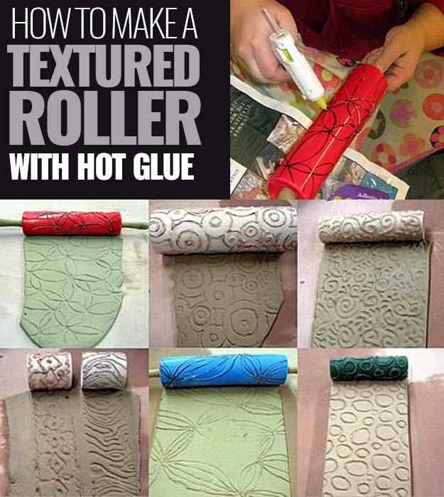 Glue Gun Crafts DIY | Best Hot Glue Gun Crafts, DIY Projects and Arts and Crafts Ideas Using Glue Gun Sticks | Make a textured roller with Glue Gun #diy #crafts #gluegun