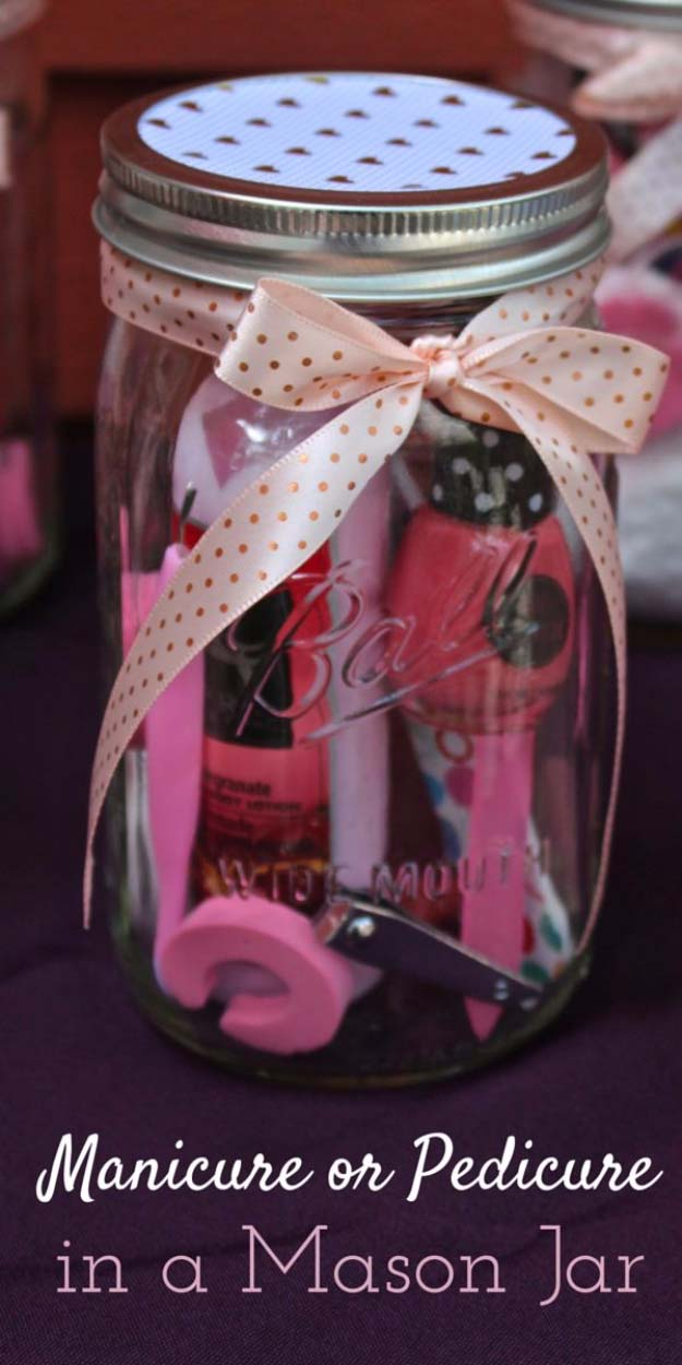 DIY Gifts for Your Girlfriend and Cool Homemade Gift Ideas for Her   Easy Creative DIY Projects and Tutorials for Christmas, Birthday and Anniversary Gifts for Mom, Sister, Aunt, Teacher or Friends  Manicure or Pedicure in a Mason Jar #diygifts #diyideas