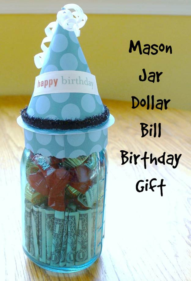 Homemade DIY Gifts in A Jar | Best Mason Jar Cookie Mixes and Recipes, Alcohol Mixers | Fun Gift Ideas for Men, Women, Teens, Kids, Teacher, Mom. Christmas, Holiday, Birthday and Easy Last Minute Gifts | Mason Jar Dollar Bill Birthday Gift #diy