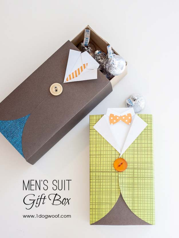 DIY Gifts For Men | DIY Fathers Day Gift Ideas | Gifts to Make For Husband, Dad, Father , Brother | Cool Homemade DIY Crafts Men Love to Receive for Christmas, Birthdays, Anniversaries and Valentine's Day | Mens Suit Gift Box