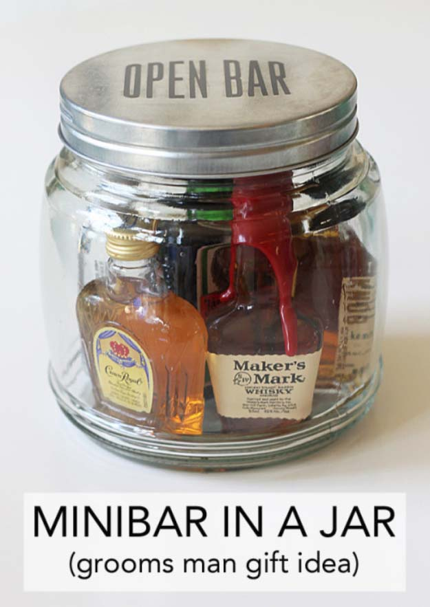 DIY Gifts For Men | Awesome Ideas for Your Boyfriend, Husband, Dad - Father , Brother Cool Homemade DIY Crafts Men Love to Receive for Christmas, Birthdays, Anniversaries and Valentine's Day | Mini Bar in a Jar #diygifts #diyideas #crafts