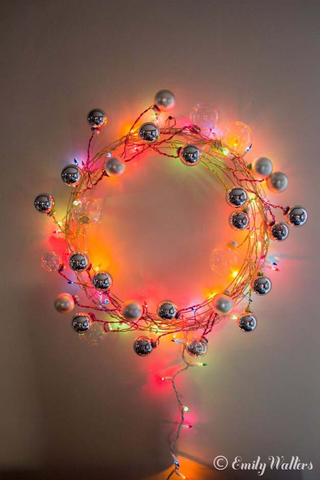DIY Christmas Decorations - Easy DIY Holiday Wreaths Make Awesome Homemade Christmas Decorations for Your Front Door | Cool Crafts and DIY Projects by DIY JOY | Modern Wire and Ornament Wreath #diy
