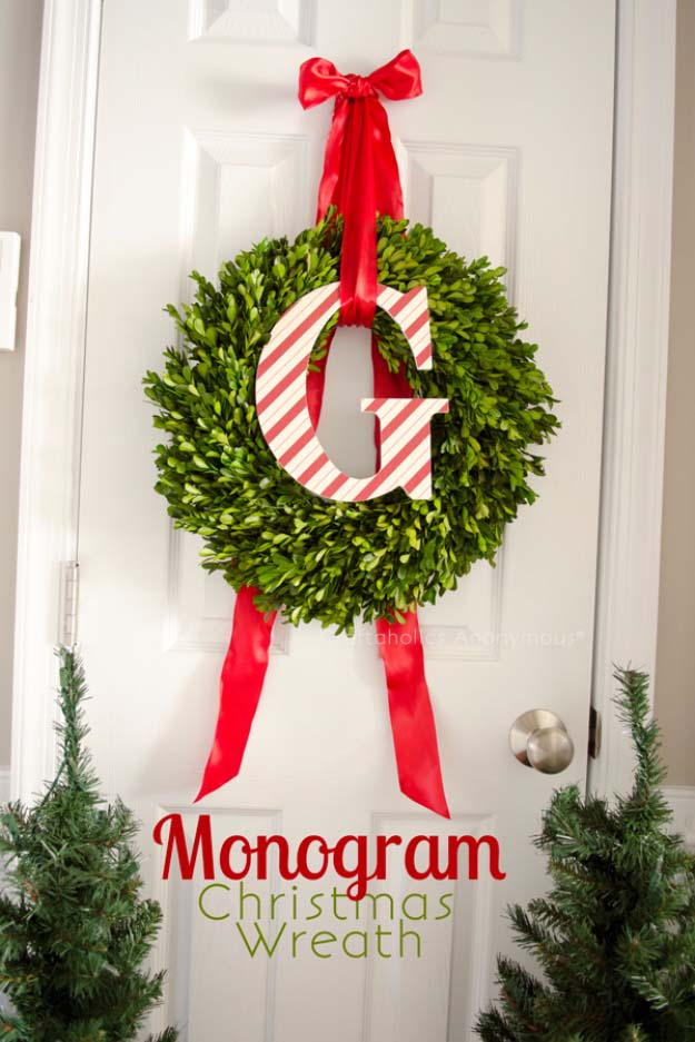 DIY Holiday Wreaths Make Awesome Homemade Christmas Decorations for Your Front Door | Cool Crafts and DIY Projects by DIY JOY | Monogram Christmas Wreath #diy