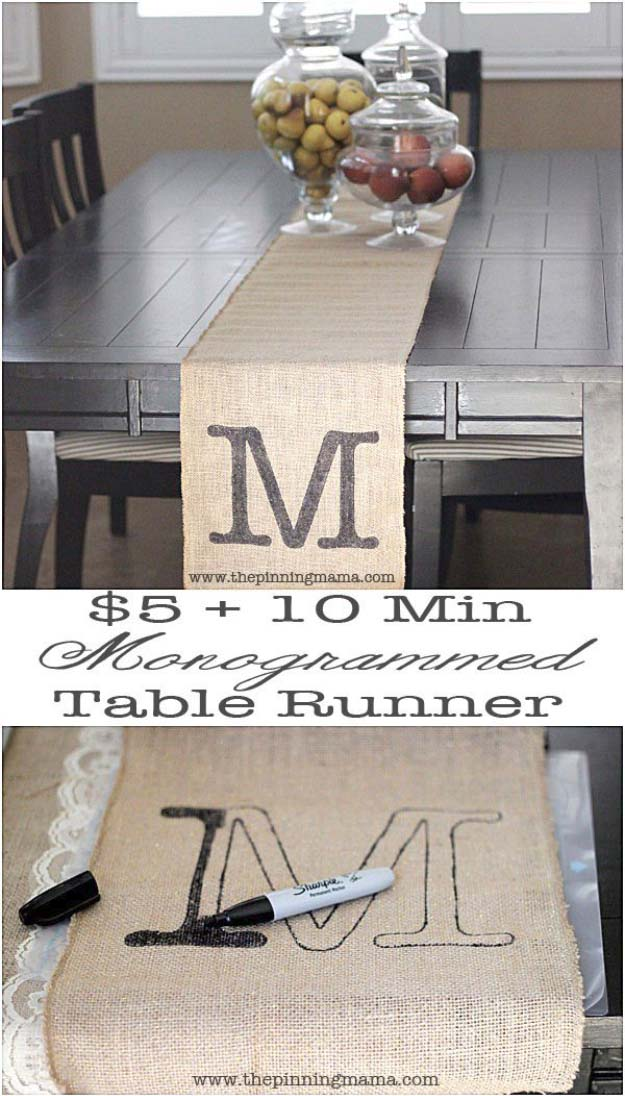 DIY Projects with Burlap and Creative Burlap Crafts for Home Decor, Gifts and More | Monogrammed Table Runner
