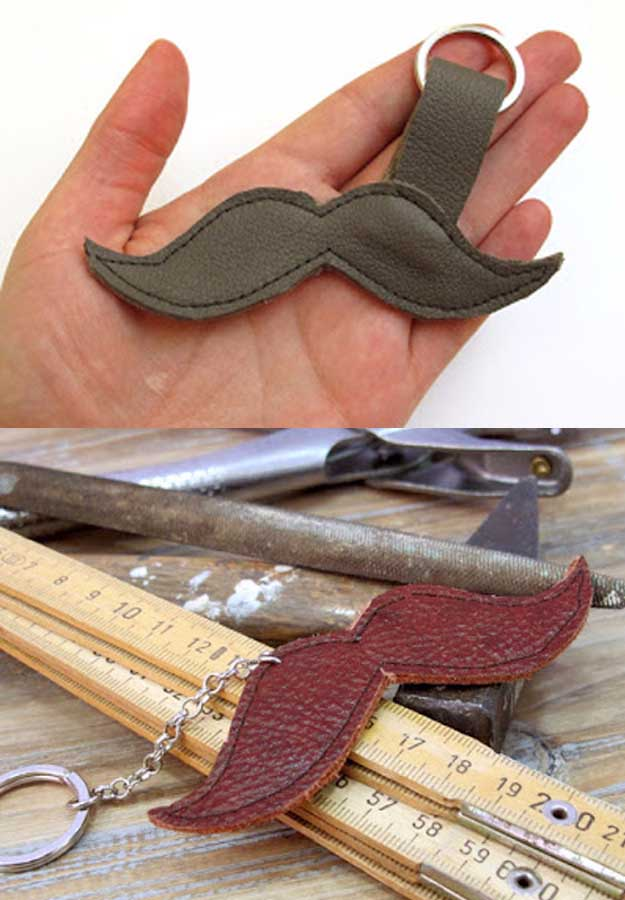 Awesome Crafts for Men and Manly DIY Project Ideas Guys Love - Fun Gifts, Manly Decor, Games and Gear. Tutorials for Creative Projects to Make This Weekend | Moustache Keychain #diy #craftsformen #guys #giftsformen