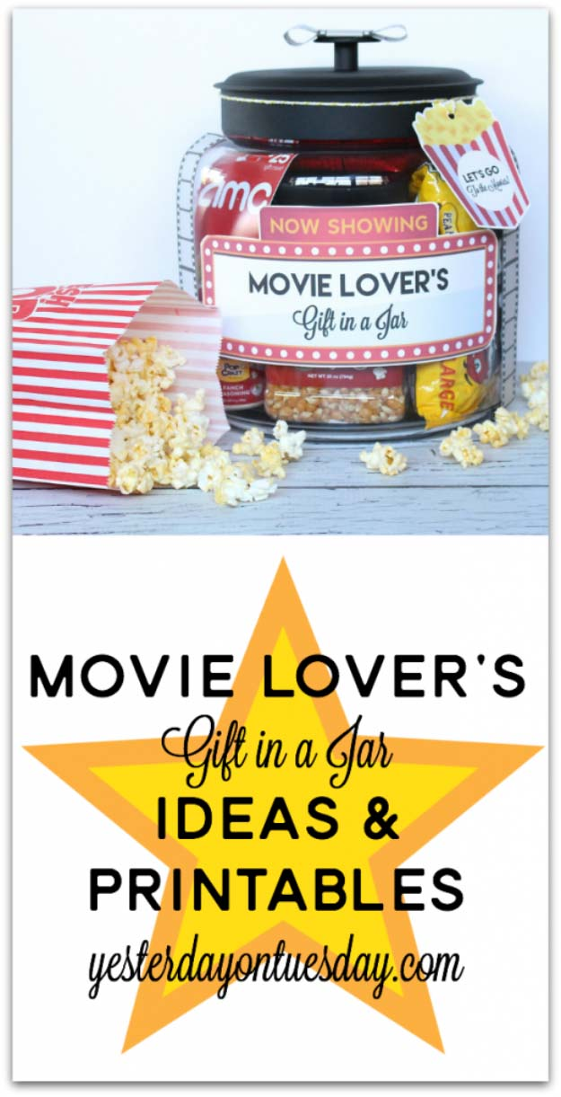 Homemade DIY Gifts in A Jar | Best Mason Jar Cookie Mixes and Recipes, Alcohol Mixers | Fun Gift Ideas for Men, Women, Teens, Kids, Teacher, Mom. Christmas, Holiday, Birthday and Easy Last Minute Gifts | Movie Lovers Gift in a Jar | http://diyjoy.com/diy-gifts-in-a-jar