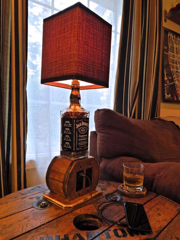 Fun DIY Ideas Made With Jack Daniels - Recipes, Projects and Crafts With The Bottle, Everything From Lamps and Decorations to Fudge and Cupcakes | Multi Use Upcycled Jack Daniels Bottle Lamp Idea #diy #jackdaniels #recipes #crafts