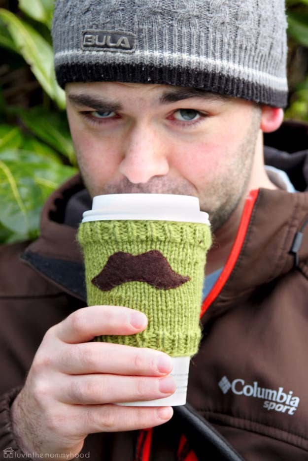 DIY Gifts For Men | Awesome Ideas for Your Boyfriend, Husband, Dad - Father , Brother Cool Homemade DIY Crafts Men Love to Receive for Christmas, Birthdays, Anniversaries and Valentine's Day | Mustache Cup Cozy #diygifts #diyideas #crafts