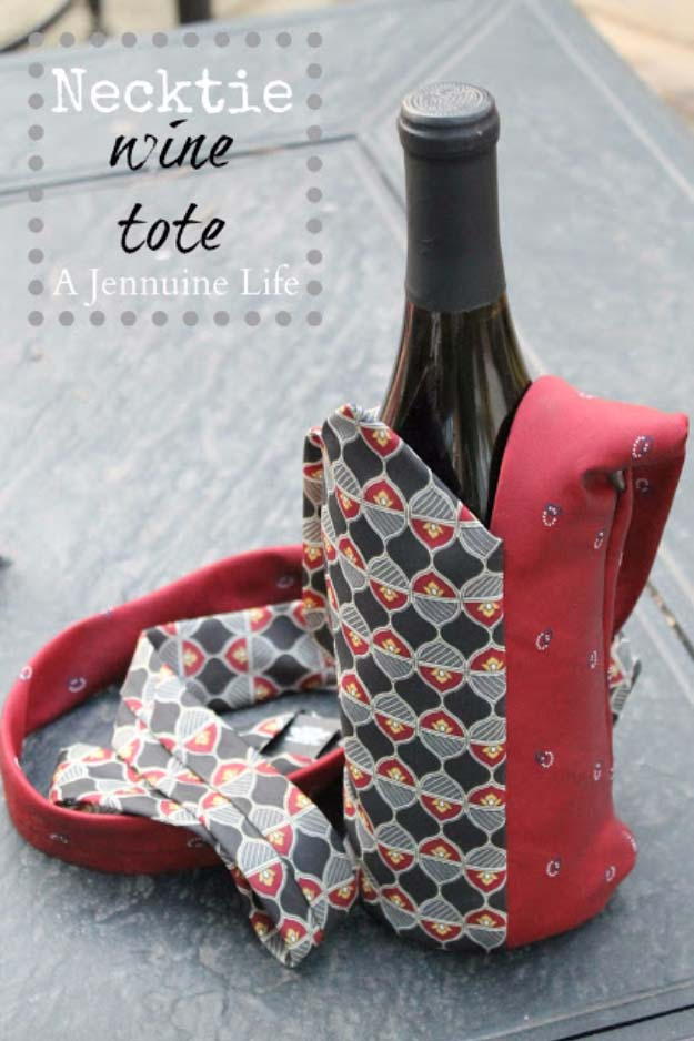DIY Gifts For Men | Awesome Ideas for Your Boyfriend, Husband, Dad - Father , Brother Cool Homemade DIY Crafts Men Love to Receive for Christmas, Birthdays, Anniversaries and Valentine's Day | Necktie Wine Tote #diygifts #diyideas #crafts