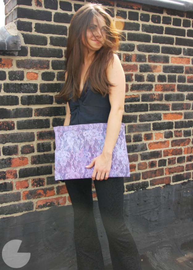 DIY Crafts You Can Make with Lace | Cool DIY Ideas for Fashion, Decor, Gifts, Jewelry and Home Accessories Made With Lace | Neon Lace Clutch  | http://diyjoy.com/diy-crafts-ideas-with-lace