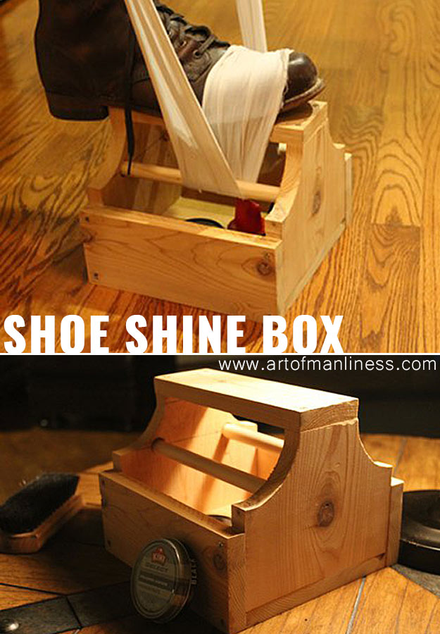 Awesome Crafts for Men and Manly DIY Project Ideas Guys Love - Fun Gifts, Manly Decor, Games and Gear. Tutorials for Creative Projects to Make This Weekend | Nifty Shoe Shine Box #diy #craftsformen #guys #giftsformen