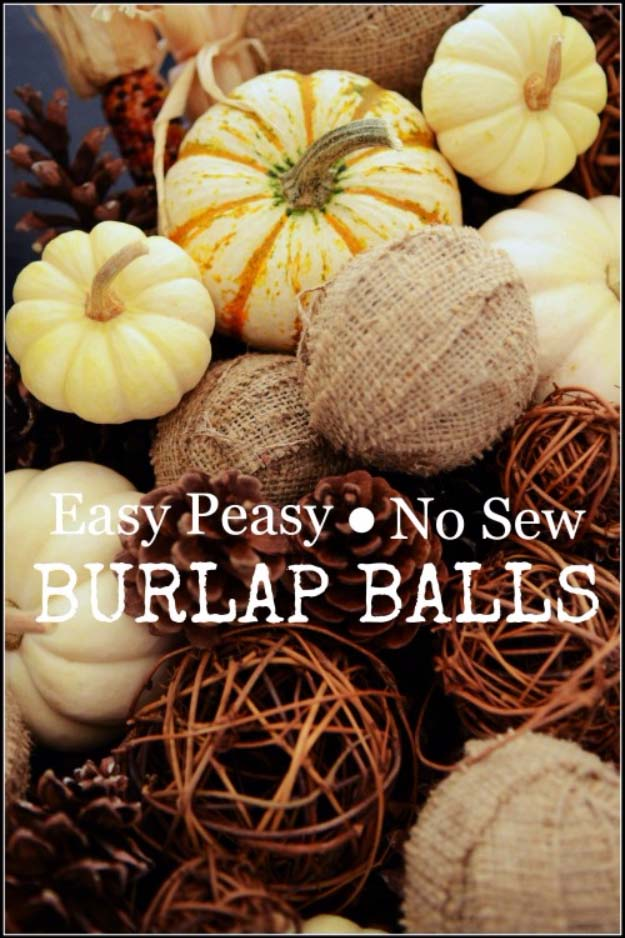 DIY Projects with Burlap and Creative Burlap Crafts for Home Decor, Gifts and More | No-Sew Burlap Balls | http://diyjoy.com/diy-projects-with-burlap