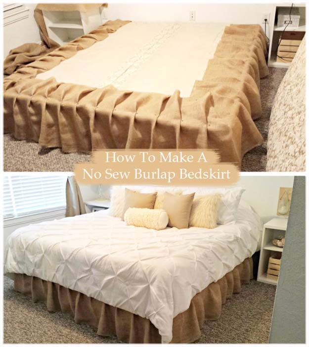 DIY Projects with Burlap and Creative Burlap Crafts for Home Decor, Gifts and More | No-Sew Burlap Bedskirt Tutorial