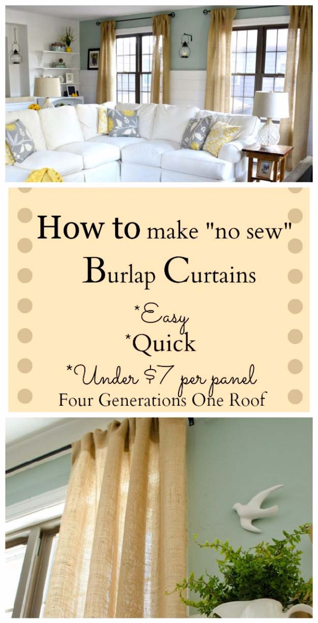 DIY Projects with Burlap and Creative Burlap Crafts for Home Decor, Gifts and More | No-Sew Burlap Curtains | http://diyjoy.com/diy-projects-with-burlap