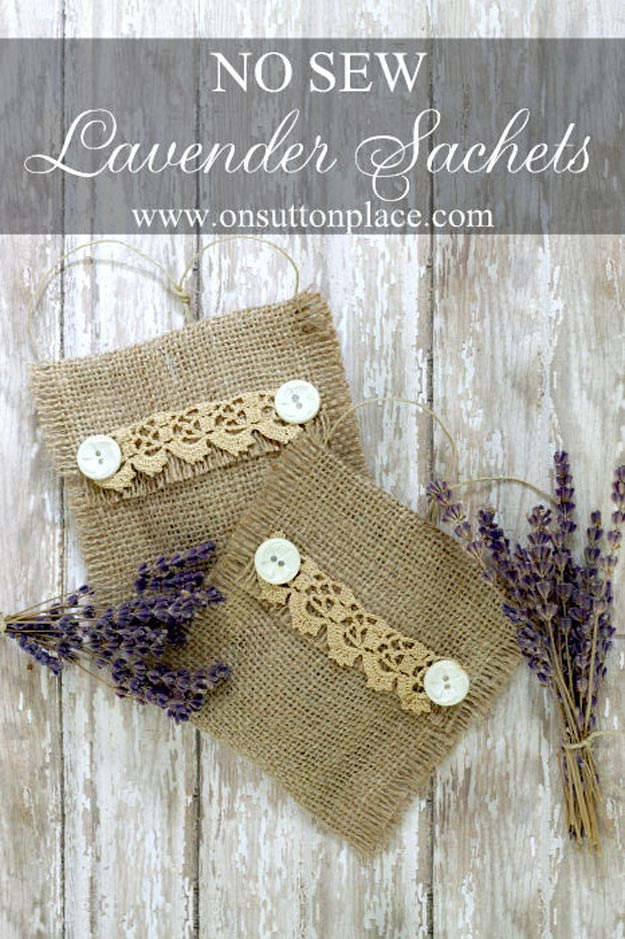 DIY Projects with Burlap and Creative Burlap Crafts for Home Decor, Gifts and More | No-Sew-Burlap-Lavender-Sachets