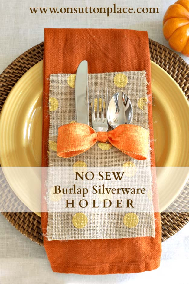 DIY Projects with Burlap and Creative Burlap Crafts for Home Decor, Gifts and More | No-Sew Burlap Silverware Holder | http://diyjoy.com/diy-projects-with-burlap