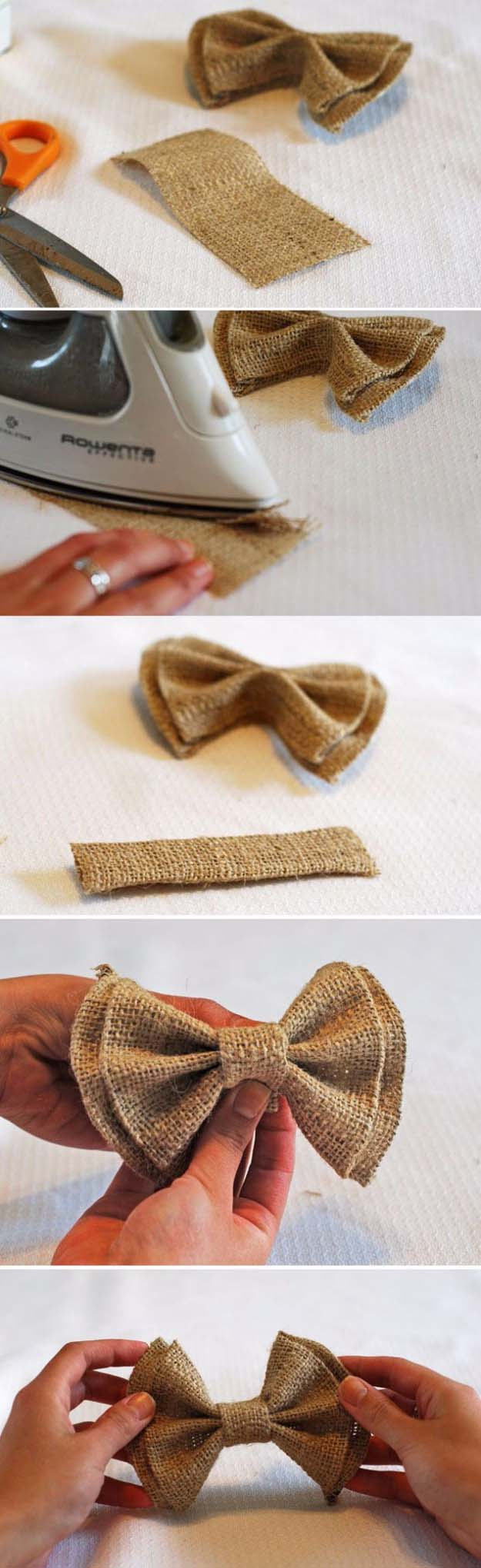 DIY Projects with Burlap and Creative Burlap Crafts for Home Decor, Gifts and More | No Sew DIY Clip Burlap Bow Ties