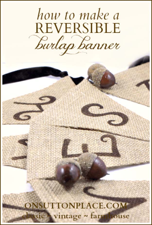 DIY Projects with Burlap and Creative Burlap Crafts for Home Decor, Gifts and More | No-Sew Reversible Burlap Banner
