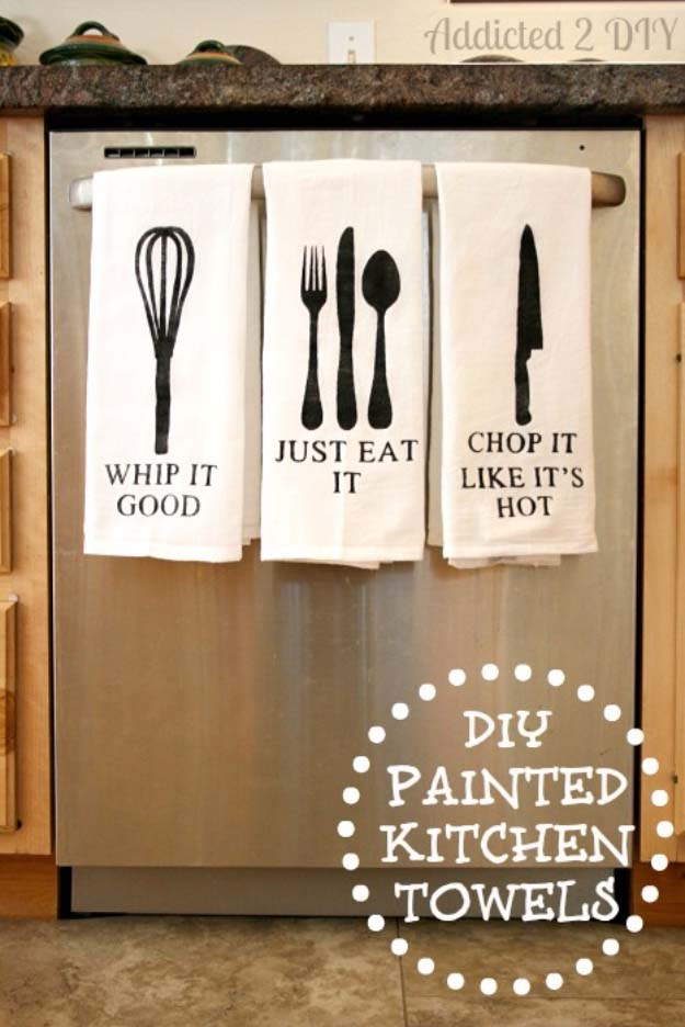 DIY Gifts for Your Parents   Cool and Easy Homemade Gift Ideas That Mom and Dad Will Love   Creative Christmas Gifts for Parents With Step by Step Instructions   Crafts and DIY Projects by DIY JOY   Painted Kitchen Towels  