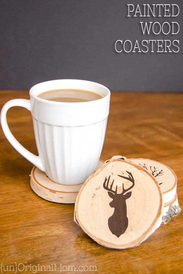 DIY Gifts For Men | Awesome Ideas for Your Boyfriend, Husband, Dad - Father , Brother Cool Homemade DIY Crafts Men Love to Receive for Christmas, Birthdays, Anniversaries and Valentine's Day | Painted Wood Slice Coasters #diygifts #diyideas #crafts