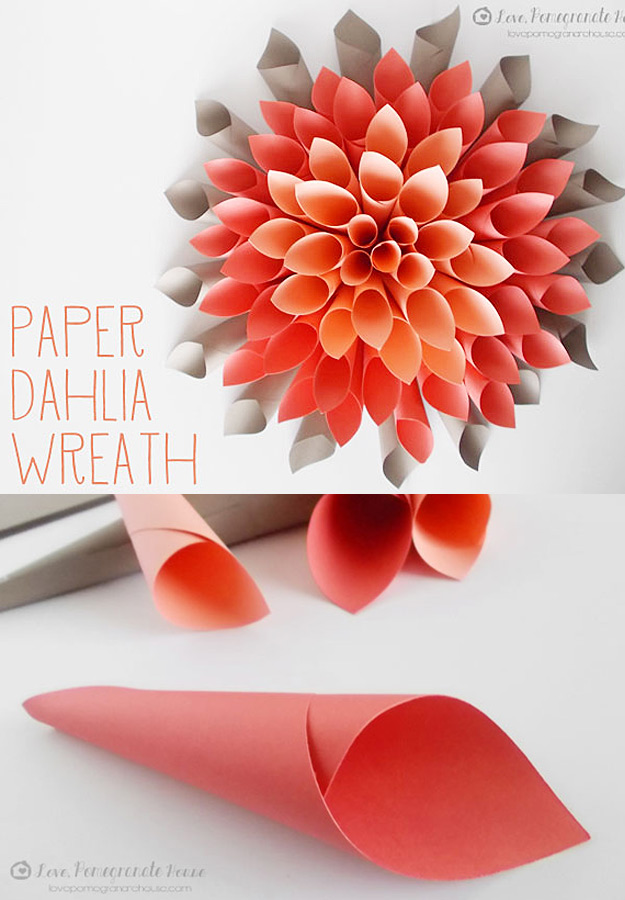 Cheap DIY Holiday Wreaths- Cheap Homemade Christmas Decorations for Your Front Door | Easy Crafts and DIY Projects by DIY JOY | Paper Dahlia Wreath