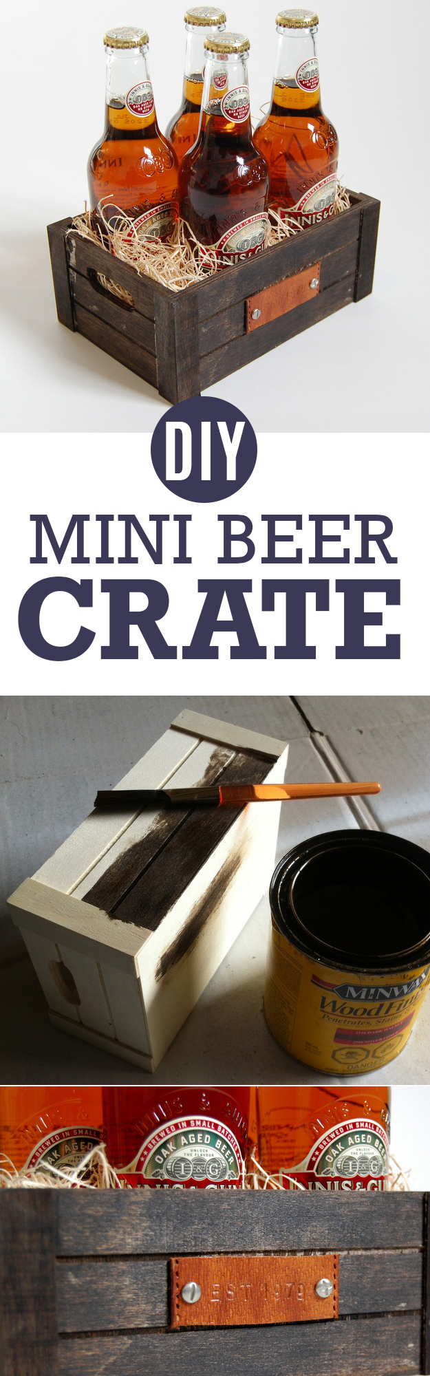 DIY Gifts For Men | Awesome Ideas for Your Boyfriend, Husband, Dad - Father , Brother and all the other important guys in your life. Cool Homemade DIY Crafts Men Will Truly Love to Receive for Christmas, Birthdays, Anniversaries and Valentine's Day | Personalized-Mini-Beer-Crate |