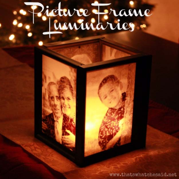 DIY Gifts for Your Parents | Cool and Easy Homemade Gift Ideas That Mom and Dad Will Love | Creative Christmas Gifts for Parents With Step by Step Instructions | Crafts and DIY Projects by DIY JOY | Picture Frame Luminaries #diy #diygifts #christmasgifts