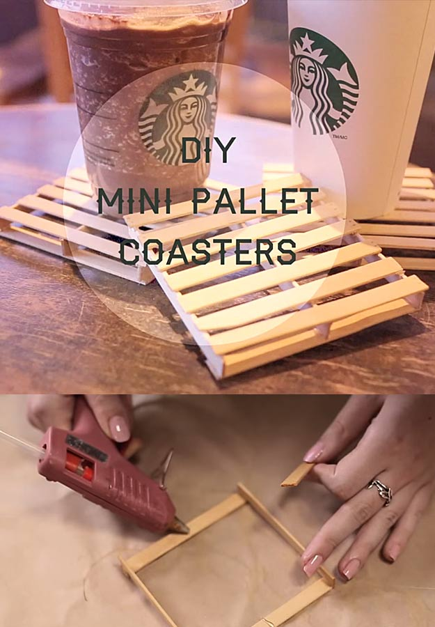 Glue Gun Crafts DIY | Best Hot Glue Gun Crafts, DIY Projects and Arts and Crafts Ideas Using Glue Gun Sticks | Popsicle Sticks and Hot Glue Gun Mini Pallet Coasters #diy #crafts #gluegun