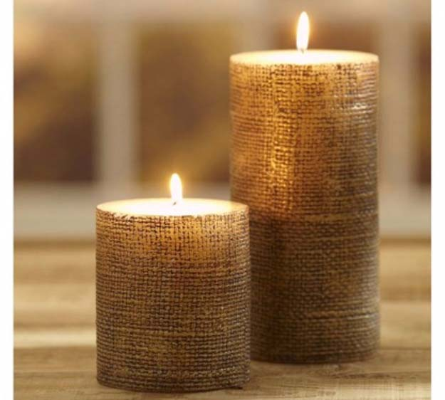 DIY Projects with Burlap and Creative Burlap Crafts for Home Decor, Gifts and More | Pottery Barn Burlap Candle