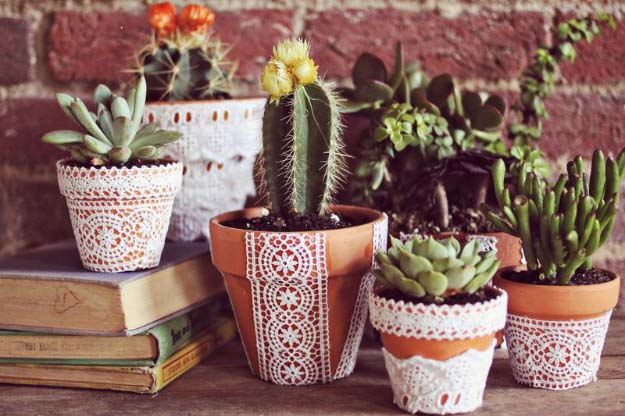 DIY Crafts You Can Make with Lace | Cool DIY Ideas for Fashion, Decor, Gifts, Jewelry and Home Accessories Made With Lace | Pretty Lace Flower Pots | http://diyjoy.com/diy-crafts-ideas-with-lace