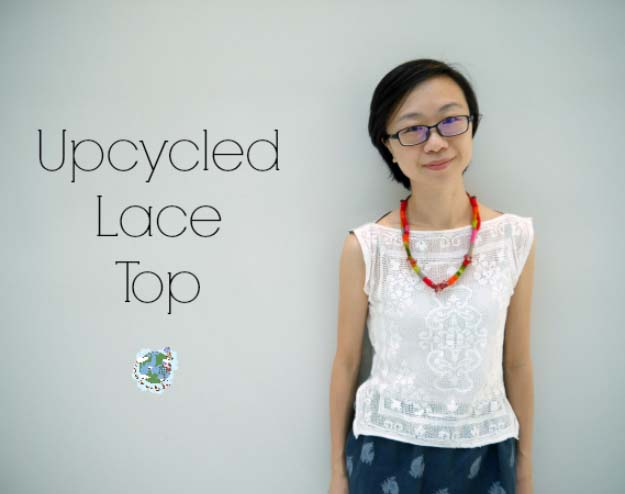 DIY Crafts You Can Make with Lace | Cool DIY Ideas for Fashion, Decor, Gifts, Jewelry and Home Accessories Made With Lace | Refashioned DIY Lace T-Shirt Top | http://diyjoy.com/diy-crafts-ideas-with-lace