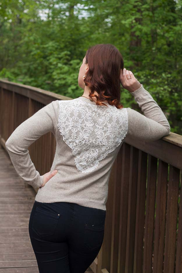 DIY Crafts You Can Make with Lace | Cool DIY Ideas for Fashion, Decor, Gifts, Jewelry and Home Accessories Made With Lace | Refashioned Lace Layer to a Bland Cardigan | http://diyjoy.com/diy-crafts-ideas-with-lace