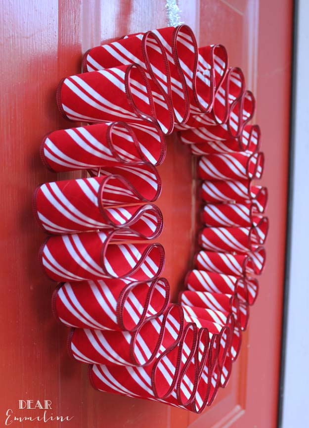 Awesome DIY Christmas Home Decorations and Homemade Holiday Decor Ideas - Quick and Easy Decorating ideas, cool ornaments, home decor crafts and fun Christmas stuff  | Crafts and DIY projects by DIY Joy  |  Easy Ribbon Candy Wreath  |  http://diyjoy.com/diy-christmas-decor-holiday-decorations