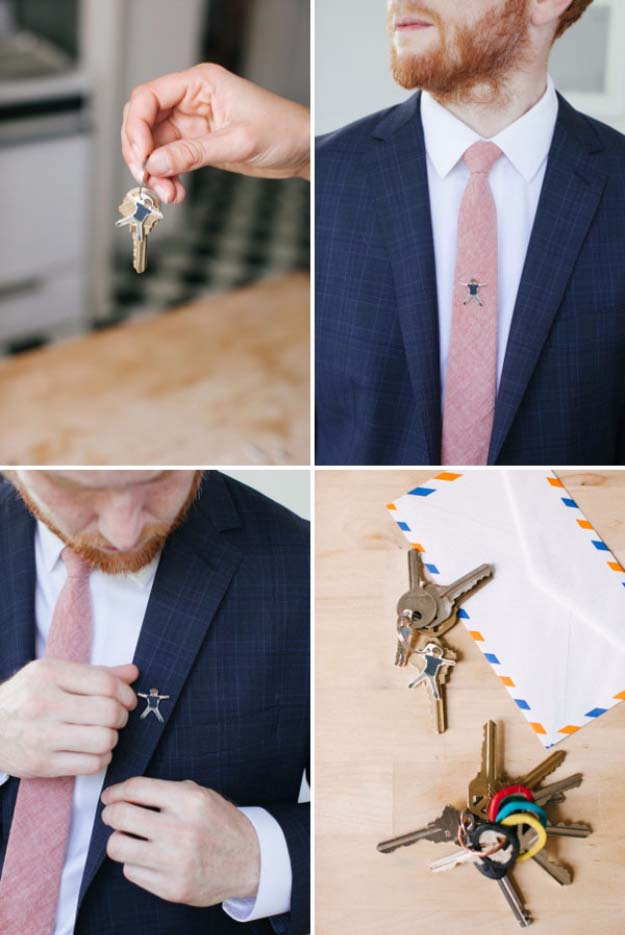 DIY Gifts For Men | Awesome Ideas for Your Boyfriend, Husband, Dad - Father , Brother Cool Homemade DIY Crafts Men Love to Receive for Christmas, Birthdays, Anniversaries and Valentine's Day | Shrinky Dink Tie Tack #diygifts #diyideas #crafts