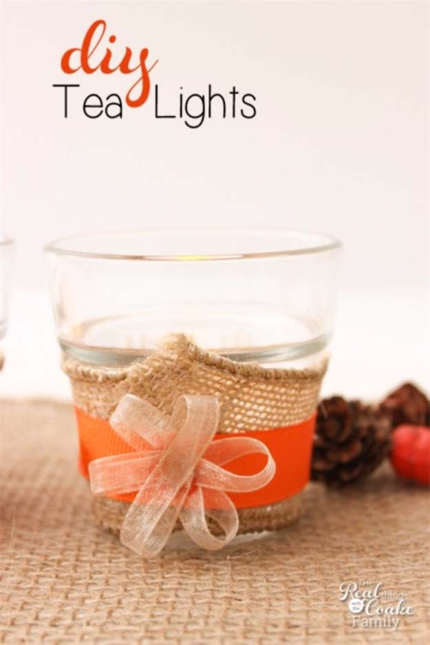 DIY Projects with Burlap and Creative Burlap Crafts for Home Decor, Gifts and More | Simple Tea Lights for the Table