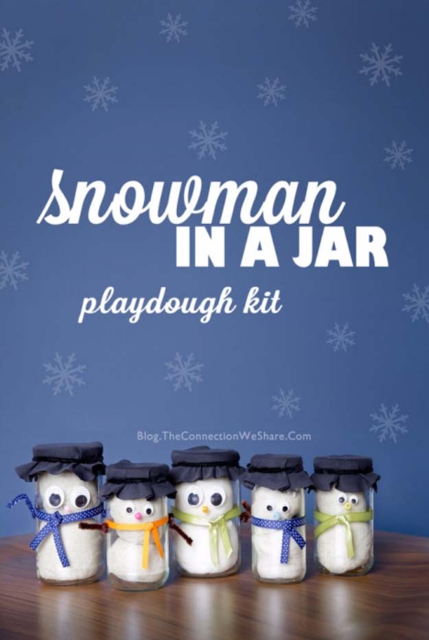 Homemade DIY Gifts in A Jar | Best Mason Jar Cookie Mixes and Recipes, Alcohol Mixers | Fun Gift Ideas for Men, Women, Teens, Kids, Teacher, Mom. Christmas, Holiday, Birthday and Easy Last Minute Gifts | Snow Man in a Jar Playdough Kit Gift Idea for kids from 1 to 92 #diy