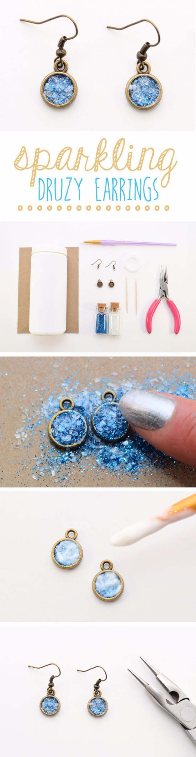 DIY Gifts for Your Girlfriend and Cool Homemade Gift Ideas for Her | Easy Creative DIY Projects and Tutorials for Christmas, Birthday and Anniversary Gifts for Mom, Sister, Aunt, Teacher or Friends | Sparklng Glitter Druzy Earrings for Cool Homemade DIY Fashion #diygifts #diyideas