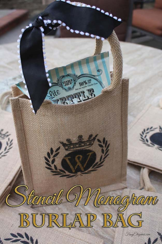 DIY Projects with Burlap and Creative Burlap Crafts for Home Decor, Gifts and More | Stencil Monogram Burlap Bag