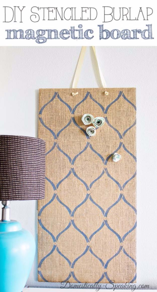 DIY Projects with Burlap and Creative Burlap Crafts for Home Decor, Gifts and More | Stenciled Burlap Magnetic Boards