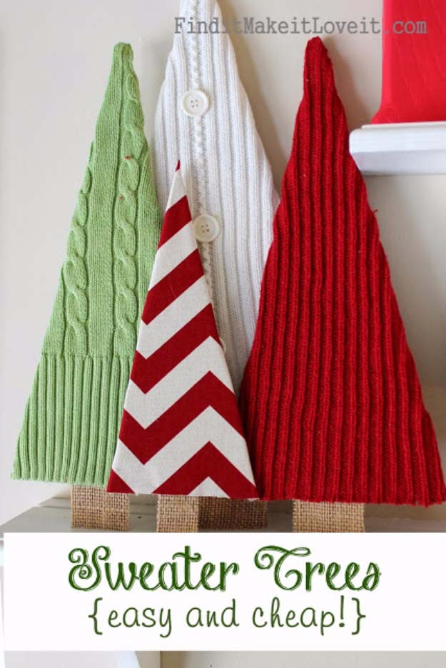 Awesome DIY Christmas Home Decorations and Homemade Holiday Decor Ideas - Quick and Easy Decorating ideas, cool ornaments, home decor crafts and fun Christmas stuff | Crafts and DIY projects by DIY Joy | Sweater Trees #diy #crafts #christmas