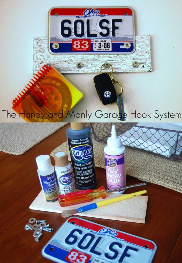 Awesome Crafts for Men and Manly DIY Project Ideas Guys Love - Fun Gifts, Manly Decor, Games and Gear. Tutorials for Creative Projects to Make This Weekend | The Handy and Manly Garage Hook Sytem #diy #craftsformen #guys #giftsformen