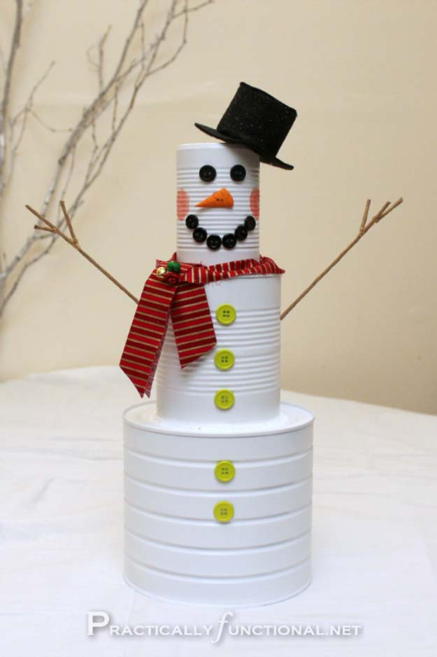 Awesome DIY Christmas Home Decorations and Homemade Holiday Decor Ideas - Quick and Easy Decorating ideas, cool ornaments, home decor crafts and fun Christmas stuff | Crafts and DIY projects by DIY Joy | Tin Can Snow Man #diy #crafts #christmas