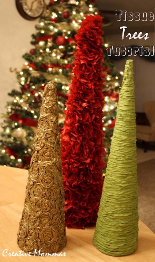 Awesome DIY Christmas Home Decorations and Homemade Holiday Decor Ideas - Quick and Easy Decorating ideas, cool ornaments, home decor crafts and fun Christmas stuff | Crafts and DIY projects by DIY Joy | Tissue Christmas Trees | http://diyjoy.com/diy-christmas-decor-holiday-decorations