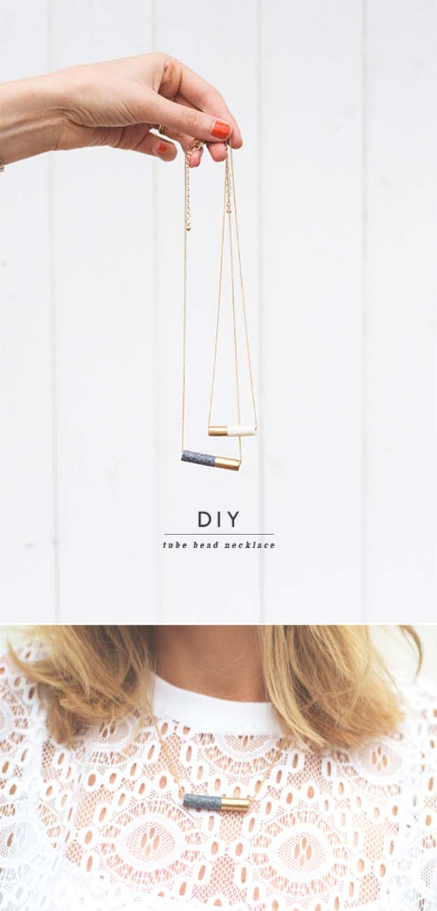 DIY Gifts for Your Girlfriend and Cool Homemade Gift Ideas for Her | Easy Creative DIY Projects and Tutorials for Christmas, Birthday and Anniversary Gifts for Mom, Sister, Aunt, Teacher or Friends | Tube Bead Necklace is Creative Homemade DIY Fashion for Women #diygifts #diyideas